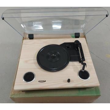 Gramofon z głośnikami oraz USB NOWY drewno Zennox
