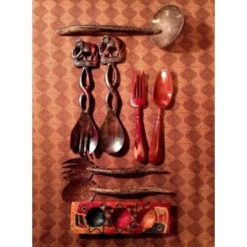zestaw sztućce Afryka drewno tek łyżka nóż widelec
