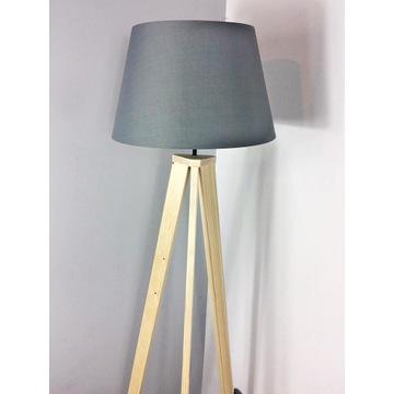 DREWNIANA nowoczesna lampa typu tripod, trójnóg,