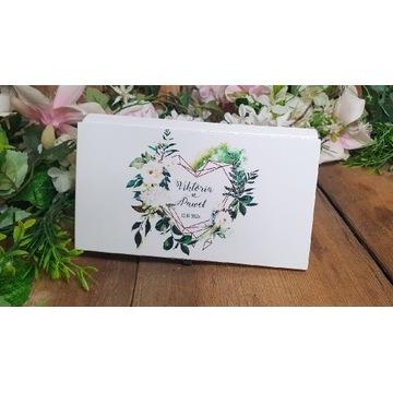Życzenia ślubne - drewniane pudełko na pieniążki