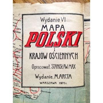 MAPA POLSKI i Krajów Ościennych oryginał 1922 rok