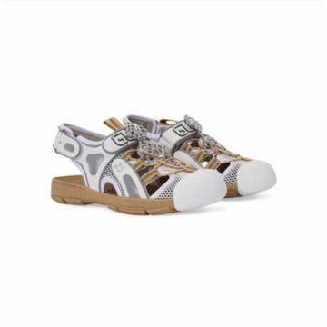 GUCCI TINSEL LEATHER SANDALS 38