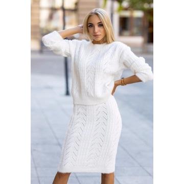 Biały komplet Sabrina  sweter i spódnica S/M
