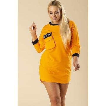Dresowa pomarańczowa sukienka  S/M