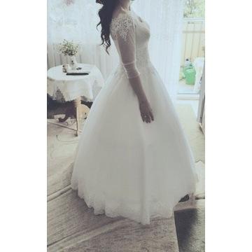 Suknia ślubna hiszpanka księżniczka dłuższy rękaw