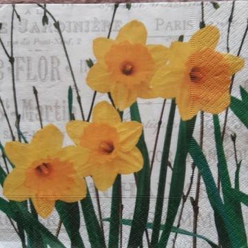 Serwetka decoupage 2 szt żonkil tulipan wiosna