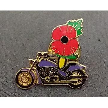 Przypinka, badges; motocykl, czerwony kwiat.