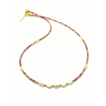 Naszyjnik choker naturalny rodonit srebro perły