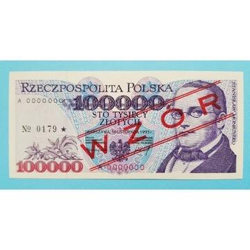 100000 złotych 1993 rok WZÓR seria A Stan UNC