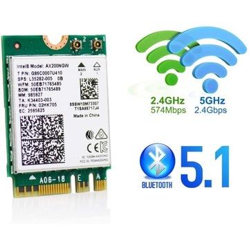 Intel Dual Band Wireless-AX200NGW Wi-Fi 6 BT5,1