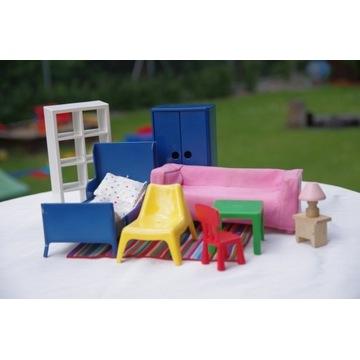 Mebelki dla lalek IKEA HUSET salon plus sypialnia
