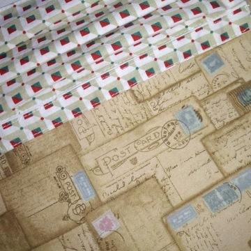 2 Maseczki unisex: kartki pocztowe i kwadraciki.