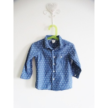 H&M niebieska koszula w gwiazdki 80/86 cm