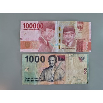 Indonezja - 1000/100000 Rupii