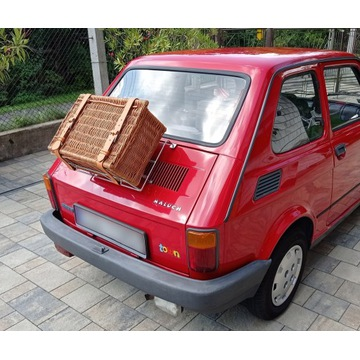 Bagażnik na klapę Fiat 126p / 500 chrom + walizka