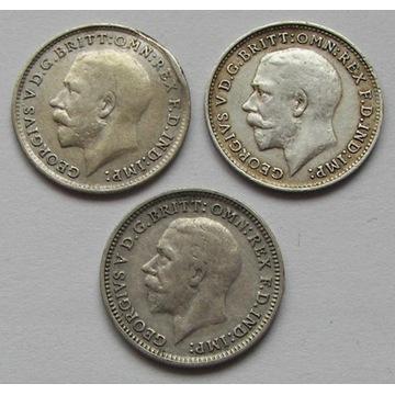 3 pensy 3 sztuki 1917,1919,1932r. srebro