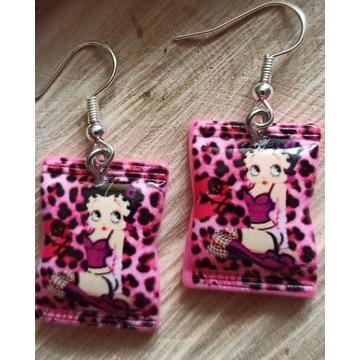 Kolczyki Betty Boop panterka różowa,vintage,kawaii