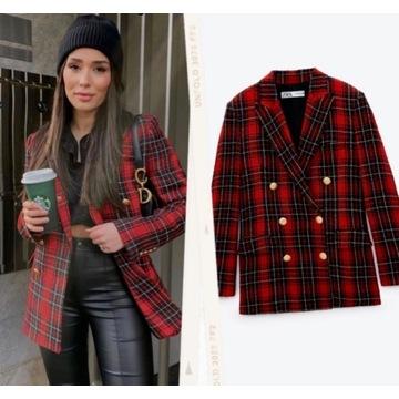 Zara marynarka blazer kratka tweed XS