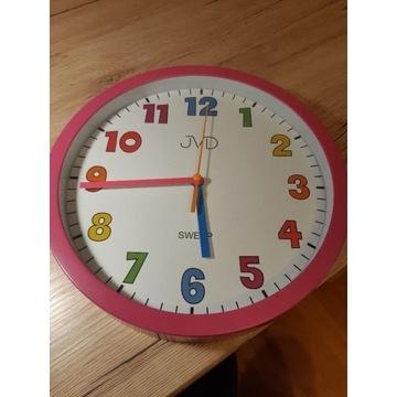 zegar dziecięcy na ścianę różowy 25cm