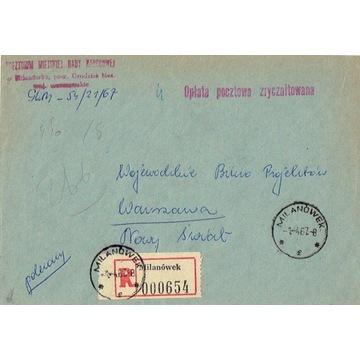 Milanówek - Koperty listów poleconych 1960-80