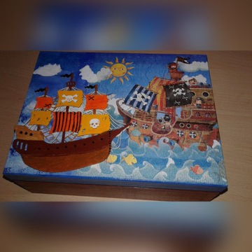 Pudełko na skarby, chłopiec, prezent, decoupage