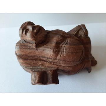 Drewniana rzeźba z drewna dekoracja Budda vintage