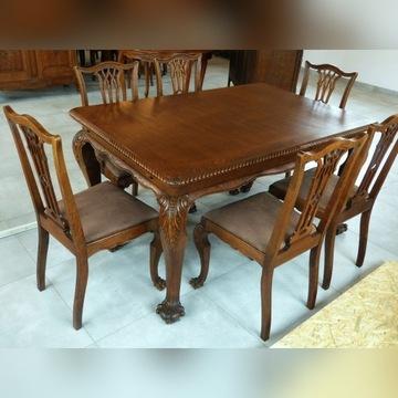 Stół z krzesłami od kompletu,dąb-sklep Dąbrowa G.