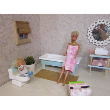 łazienka dla lalek wanna sedes umywalka dla barbi