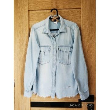 Koszula damska z przetarciami, imitacja jeansu