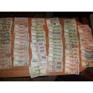 Zestaw około 150 banknotow PRL BCM