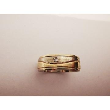 Obrączka ślubna z brylantami - białe i żółte złoto