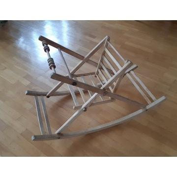Leżaczek bujany drewniany, krzesełko bujane, prl