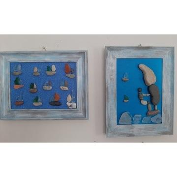Obrazki-kamyki,szkiełka,żaglówki,windsurfing,wiatr