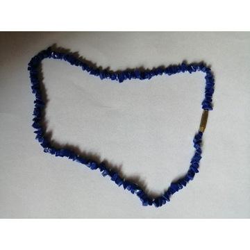 Niebieskie korale kamienie kamyki RETRO vintage