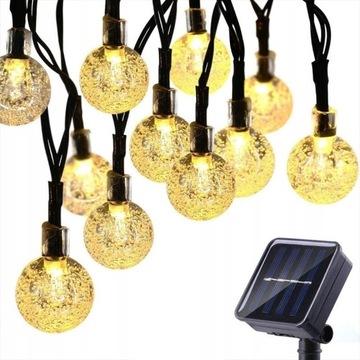 LAMPKI SOLARNE OGRODOWE GIRLANDY 9.5M 50LED 2.5cm