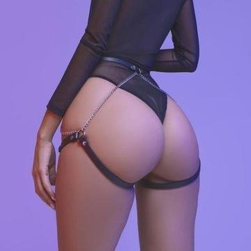 Harness uprząż sexy erotyczny BDSM pas pończochy