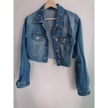 Fajna krótka jeansowa katana z perełkami r L