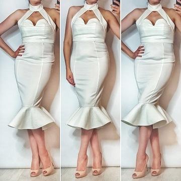 Biała sukienka midi rybka syrena hoker falbanka