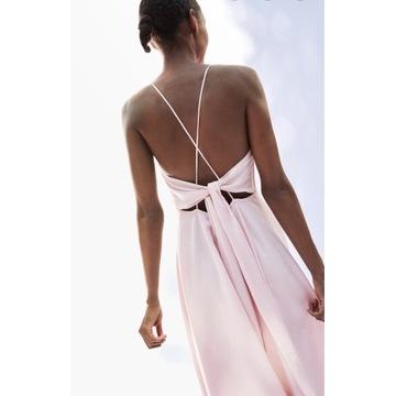 Kopertowa sukienka długa różowa dla druhny zara