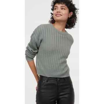 H&M__Oliwkowy sweterek prążki__34  /oversize