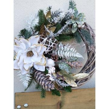 Wianek  drzwi stroik bożonarodzeniowy świąteczny