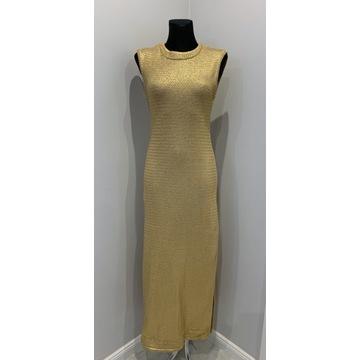 Długa złota sukienka Jedwab rozm. 38