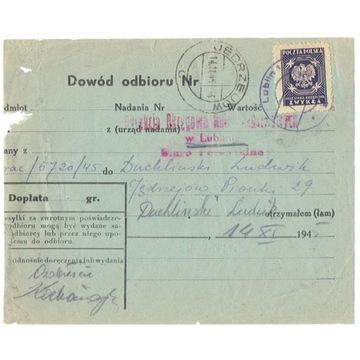 Jędrzejów, Lublin - stempel prowizoryczny 1945 r.