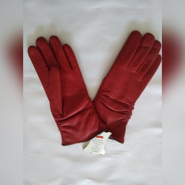 Rękawiczki zimowe skóra czerwone nowe 7,5