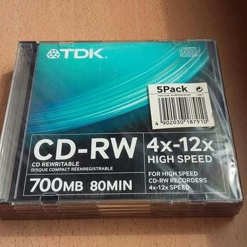 Płyta TDK CD-RW 700mb 80min komplet 10szt.