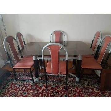 Stół szklany z 4 krzesłami