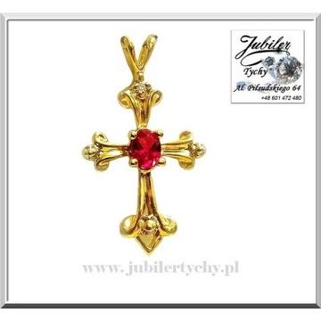 Złoty wisiorek krzyżyk zawieszka krzyż z rubinem