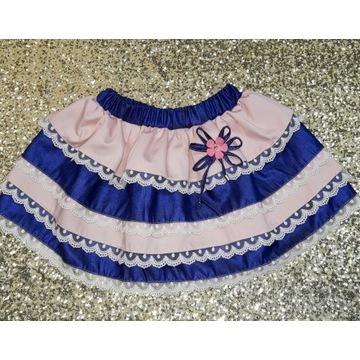 Spódnica koronkowa bawełna falbanki handmade gumka