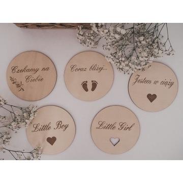 Tabliczki drewniane karty do zdjęć ciąża sesja