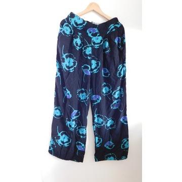 Spodnie letnie kwiaty 42/XL szeroka nogawka